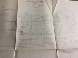 Plan De Géomètre, Rez De Chaussée, Charenton, 1946 (62x41 Cm) - Architecture