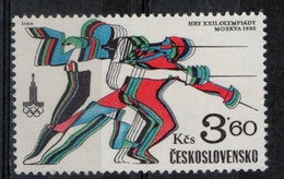 Cecoslovacchia Czechoslovakia 1980 - Giochi Olimpici Mosca Olympic Games Moscow Scherma Fencing  MNH ** - Scherma