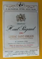 10297 - Château Haut Pagaud  1982  Lussac-St-Emilion - Bordeaux