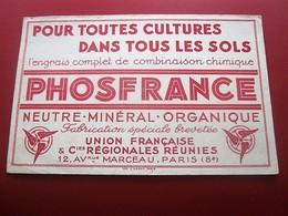 ENGRAIS PHOSFRANCE MINERAL ORGANIQUE  BUVARD Collection Illustré Publicitaire Publicité Agriculture - Farm