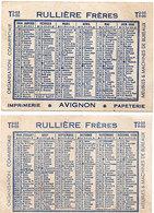 Calendrier 1950 - Rullières Frères - Avignon  (112699) - Calendriers