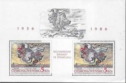CECOSLOVACCHIA - 50° ANNIVERSARIO BRIGATE INTERNAZIONALI IN SPAGNA 1986 - FOGLIETTO NUOVO ** (YVERT BF72 - MICHEL BL68) - Blocchi & Foglietti