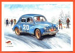 CPM Rallye Monté Carlo Renault 4 CH - Illustrée Par Alain Chevrier - Rallyes
