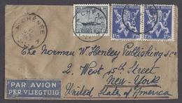 Belgium - XX. 1947 (7 June). Chenee - USA. Air / Per Vliegtuig Multifkd Small Size Hand Made Env. Victory Issue. Fine. - Belgium