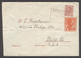 ROMANIA. 1957 (20 Dec). Saravale - USA. 6l Red Stat Env Adtl. Box Ds. Fine. - Rumania