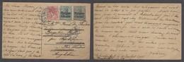 Belgium - XX. 1915 (11 July). Schootenhof - Netherlands. WW I German Occup Ovptd Stat Germania Card + Adtl, Fwded At Des - Non Classés