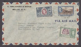 BC - Br. Honduras. 1947 (7 April). Belize - USA / NO Air Fkd Env 21c Rate Mixed Issues. - Ohne Zuordnung