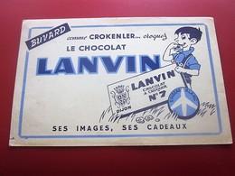 CHOCOLAT CACAO LANVIN - BUVARD Collection Illustré LAIT NOISETTES  Publicitaire Publicité Alimentaire Chocolat - Cocoa & Chocolat