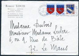 Héraldisme - Blasons De Villes - Courrier De Mireille Louis - Timbres