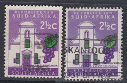 Afrique Du Sud N° 285 / 85A  O 2 1/2 C. Violet Et Vert Type I Et II,  Les 2 Valeurs Oblitérations Légères Sinon TB - Afrique Du Sud (1961-...)