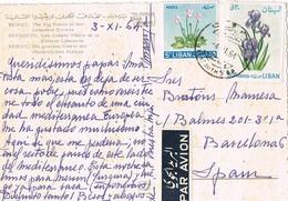 32269. Postal Aerea BEYROUTH (Libano) 1964 A Barcelona. Grands Hotels Riviera Libanesa - Líbano