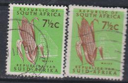 Afrique Du Sud N° 286 C / 86 D  O 7 1/2 C. Vert Clair Et Brun Type I Et II,  Les 2 Vals Oblitérations Légères Sinon TB - Oblitérés