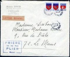 Héraldisme - Blasons De Villes - Courrier De Mireille Louis - Enveloppes