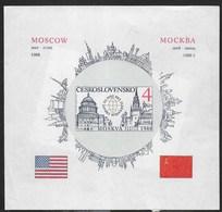 CECOSLOVACCHIA - SUMMIT RUSSO-AMERICANO A MOSCA 1988 - FOGLIETTO NUOVO S.G. (YVERT BF78a - MICHEL 82B) - Blocchi & Foglietti