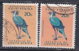 Afrique Du Sud N° 289 / 89 A  O 20 C. Saumon, Bleu Et Rouge Type I Et II,  Les 2 Vals Oblitérations Légères Sinon TB - Oblitérés