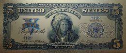 Billet Plaqué Or 24K USA  5 Dollars D'argent Joint Bleu 1899 NEUF - Autres - Amérique