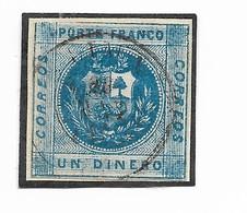 PERU 1858 NATIONAL COAT BLUE 1 D SCOTT  7 MICHEL 6A USED VF - Peru