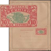 Réunion 1914. Carte-lettre, Entier Postal Officiel. 10 C  Carte De La Réunion, Océan Indien, Palmiers - Réunion (1852-1975)