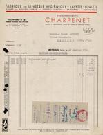 FACTURE ETS CHARPENET - FABRIQUE DE LINGERIE - MEYZIEUX - ISERE - AUCOURT - SAULIEU - 26 JANVIER 1950 - 1950 - ...