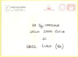 ITALIA - ITALY - ITALIE - 2002 - 00,77 EMA, Red Cancel - Comune Di Cervia - Viaggiata Da Cervia Per Lugo - Affrancature Meccaniche Rosse (EMA)