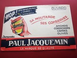 MOUTARDE PAUL JACQUEMIN CONSERVES  - BUVARD Collection Illustré Publicitaire Publicité Alimentaire Moutarde - Mostard