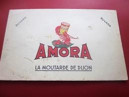MOUTARDE AMORA COUVERCLA MIROIR   - BUVARD Collection Illustré Publicitaire Publicité Alimentaire Moutarde - Mostard