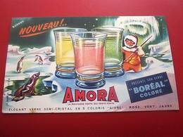 MOUTARDE AMORA VERRES BOREAL  - BUVARD Collection Illustré Publicitaire Publicité Alimentaire Moutarde - Mostaza