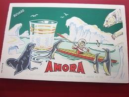 MOUTARDE AMORA VERRES BOREAL  - BUVARD Collection Illustré Publicitaire Publicité Alimentaire Moutarde - Mostard