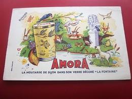 MOUTARDE AMORA VERRE DECORE LA FONTAINE   - BUVARD Collection Illustré Publicitaire Publicité Alimentaire Moutarde - Mostard