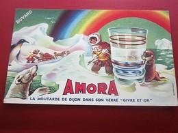 MOUTARDE AMORA VERRE GIVRE ET OR   - BUVARD Collection Illustré Publicitaire Publicité Alimentaire Moutarde - Mostard