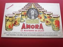 MOUTARDE DIJON AMORA VERRE DECORES LA FONTAINE- BUVARD Collection Illustré Publicitaire Publicité Alimentaire Moutarde - Mostaza