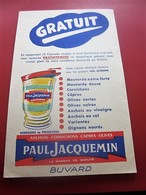MOUTARDE PAUL JACQUEMIN  CARPRES OLIVES - BUVARD Collection Illustré Publicitaire Publicité Alimentaire Moutarde - Mostard