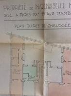 Plan D' Architecte : Propriété Paris XXème, Début Du Siècle Dernier (40x40 Cm) - Architecture