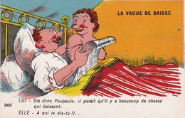 """CPA Grivoise Mamie Sexy Nuisette Papy Coquin """"la Vague De Baisse"""" Humour Illustrateur Anonyme (2 Scans) - Illustrateurs & Photographes"""