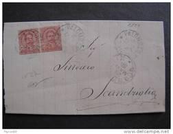 """1129 ITALIA Regno-1891-96- """"Effigie"""" C. 10 Coppia PALOMBARA SABINA>SCANDRIGLIA (descrizione) - 1878-00 Umberto I"""