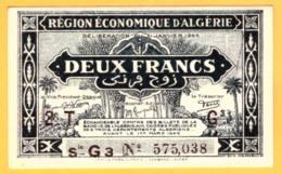Algerie 2 Francs NEUF - UNC, Series Letter G, P. 102 - Algérie