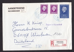 Netherlands: Registered Cover, 1995, 3 Stamps, R-label, Blue Cancel Enschede Fresiastraat, Auxiliary Mark (minor Damage) - Storia Postale
