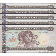 TWN - ERITREA 2 - 5 Nakfa 24.5.1997 DEALERS LOT X 5 - Prefix AA UNC - Eritrea