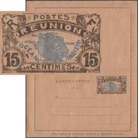 Réunion 1914. Carte-lettre, Entier Postal Officiel. 15 C  Carte De La Réunion, Océan Indien, Palmiers - Réunion (1852-1975)