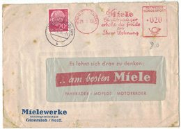 AP1    Germany 1955  Cover To Italy Special Postmark EMA  - MIELE Staubsauger Erhoth Die Freude An Ihrer Wohnung - - [7] Repubblica Federale