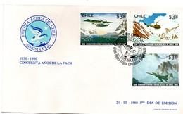 Fuerza Aerea De Chile 1980 FDC - Air Force - Armée De L'air - Hydravion Hélicoptère Avion - Chili
