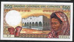 COMORES P10a 500 FRANCS 1986 #P.2    FIRST SIGNATURE   UNC. - Comoros