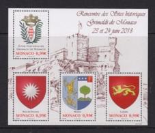 6.- MONACO 2018 Historical Sites Of The Grimaldis Of Monaco - Unused Stamps