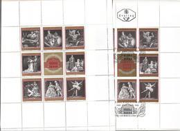 3005b: Österreich 1969, Staatsopernblock, Einmal Postfrisch ** Und Einmal Gestempelt Im Folder - Variétés & Curiosités