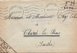 """Hopital Foch De Suresnes 1955 + Cachet De Franchise """"blessé Militaire En Traitement""""  (évacué D'Indochine) - Marcophilie (Lettres)"""