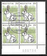 Schweiz Suisse 1991: Tiere Animaux Zu 791 Mi 1436 Hase Lièvre Hare (Leporidae) Block Mit ET-o BERN 15.1.91 - Lapins