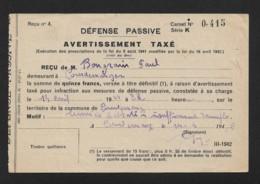 COURDEMANGES (MARNE) - AVERTISSEMENT TAXE DE DEFENSE PASSIVE A M. BONGRAIN PAUL LE 13 AVRIL 1944 A 22H - FORMAT 13.5 X 9 - Documents Historiques