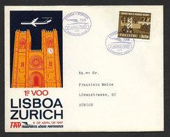 Portugal Premier Vol TAP Lisbonne Zurich Suisse 1967 First Flight Lisbon Switzerland - Poste Aérienne