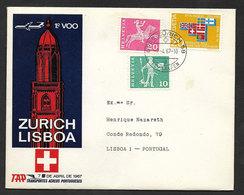 Portugal Premier Vol TAP Zurich Suisse Lisbonne 1967 First Flight Switzerland Lisbon - Poste Aérienne