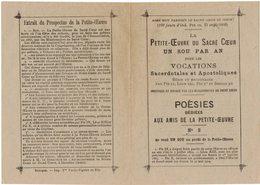LA PETITE OEUVRE DU SACRE COEUR UN SOU PAR AN POUR LES VOCATIONS SACERDOTALES IMAGE PIEUSE HOLY CARD SANTINI - Imágenes Religiosas
